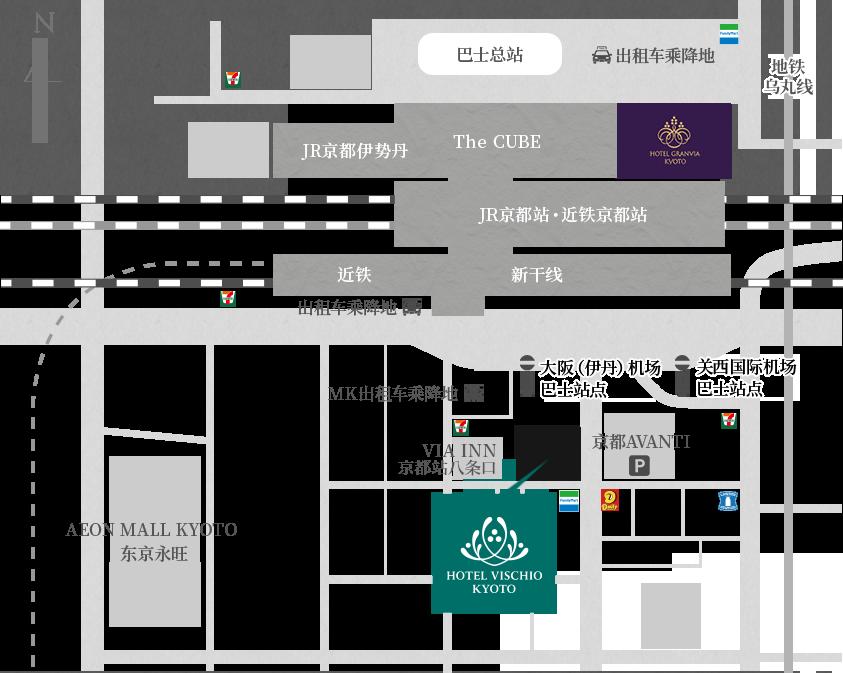 从京都站八条出口向南步行2分钟通过各种手段都很方便的地理位置